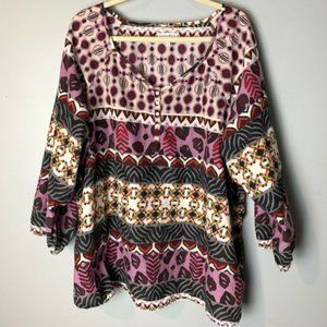 Fashion Bug Top Size 3X Popover Blouse 3/4 Sleeves